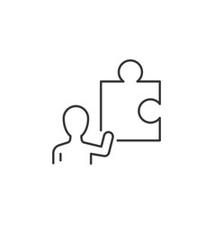 businessman hold part puzzle linear icon vector image