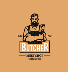 Butcher logo with text man with beard and large vector