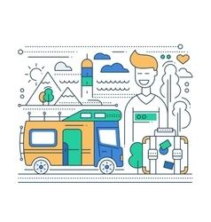 Caravan Tourism - line flat design vector