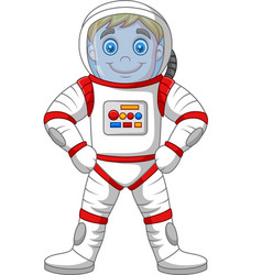cartoon astronaut standing isolated on white backg vector image