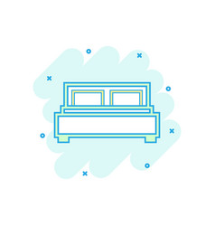 Cartoon bed icon in comic style bedroom sign vector