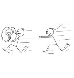 Cartoon businessman stealing an idea vector