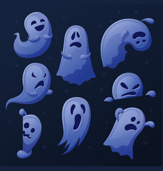 Cartoon cute ghost funny ghosts collection vector