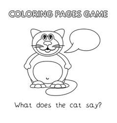 cartoon fat cat coloring book vector image