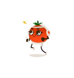 cartoon orange in headphones jogging vector image