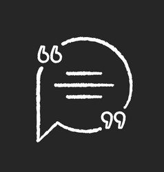 chat bubble with quotation marks chalk white icon vector image