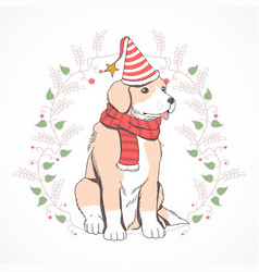 christmas cute puppy vector image