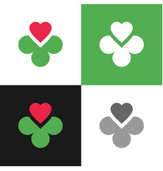 Clover leaf and heart logo icon 4 leaves clover vector