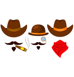 colorful cartoon 3 cowboy avatars vector image
