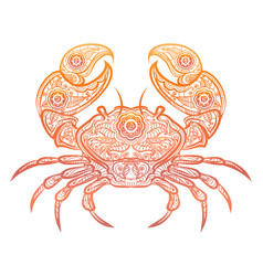 Colorful crab decorative doodle design vector