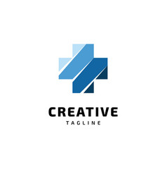creative cross symbol logo design vector image