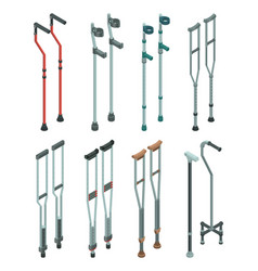 Crutches icon set isometric style vector