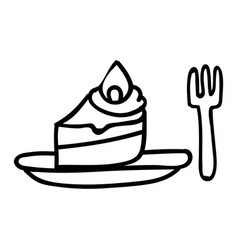Cute afternoon tea cake with fork clipart hand vector