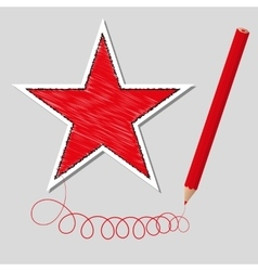 Dashed star and pencil vector
