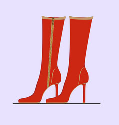 Elegant red womens boots vector