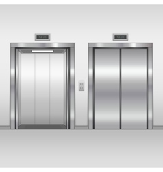 Elevator open and closed doors vector