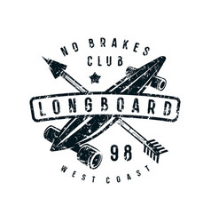 Emblem of longboard club vector