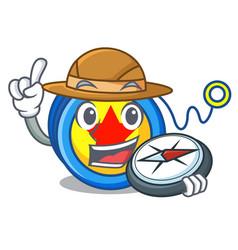 explorer yoyo mascot cartoon style vector image
