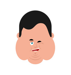 fat winking face avatar stout guy happy emoji vector image
