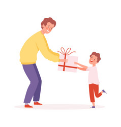father time man giving gift to son happy boy and vector image