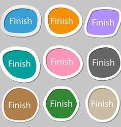 Finish sign icon Power button Multicolored paper vector