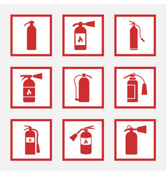 Fire extinguisher signs and icons set vector