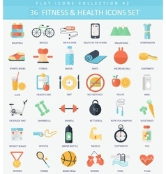 Fitness and health Flat icon set Elegant vector