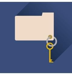 Flat icon with long shadow key folder vector