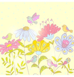 flowers and birds background vector image
