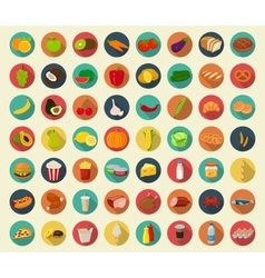 Food and drinks icons set Flat design icons vector