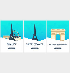 France time to travel set of travel posters vector