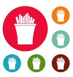 french fries icons circle set vector image