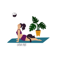 Girl doing cobra yoga pose with cat vector