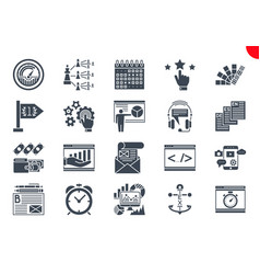 glyph icons set search engine optimization vector image