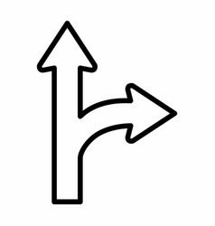 go straight - turn right icon vector image