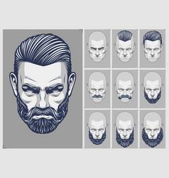 Hair and beard styles set vector