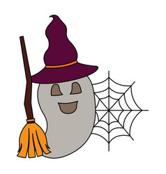 halloween ghost with broom and hat witch vector image