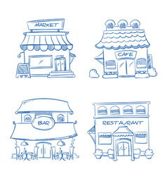 Hand drawn store shop restaurant cafe bar vector