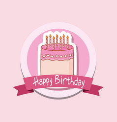 happy birthday frame with sweet cake vector image