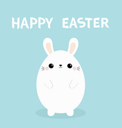happy easter white bunny rabbit painting egg vector image
