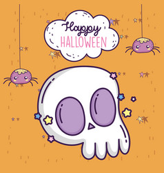 happy halloween celebration hanging spiders and vector image