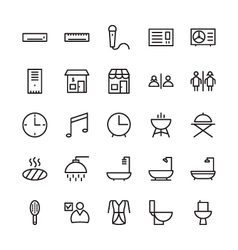Hotel outline icons 1 vector