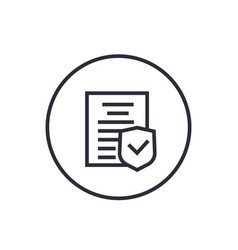 Insurance policy icon linear on white vector