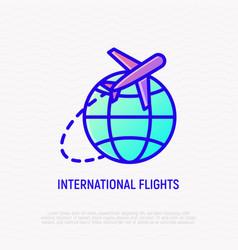 international flights thin line icon vector image