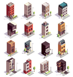 isometric town houses set vector image