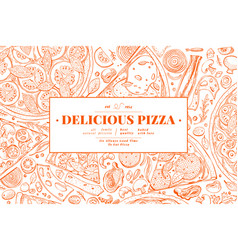 italian pizza and ingredients frame italian food vector image