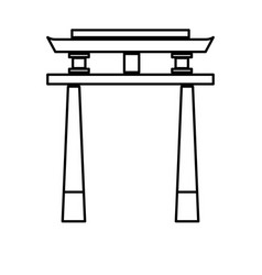 Japan gate torii architecture landmark outline vector