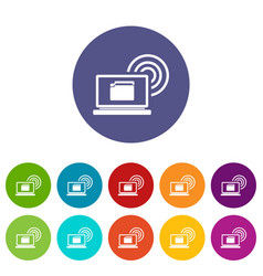 laptop and and wireless set icons vector image