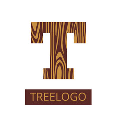 logo letter concept saw cut tree trunk vector image