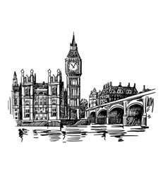 London landmark big ben vector